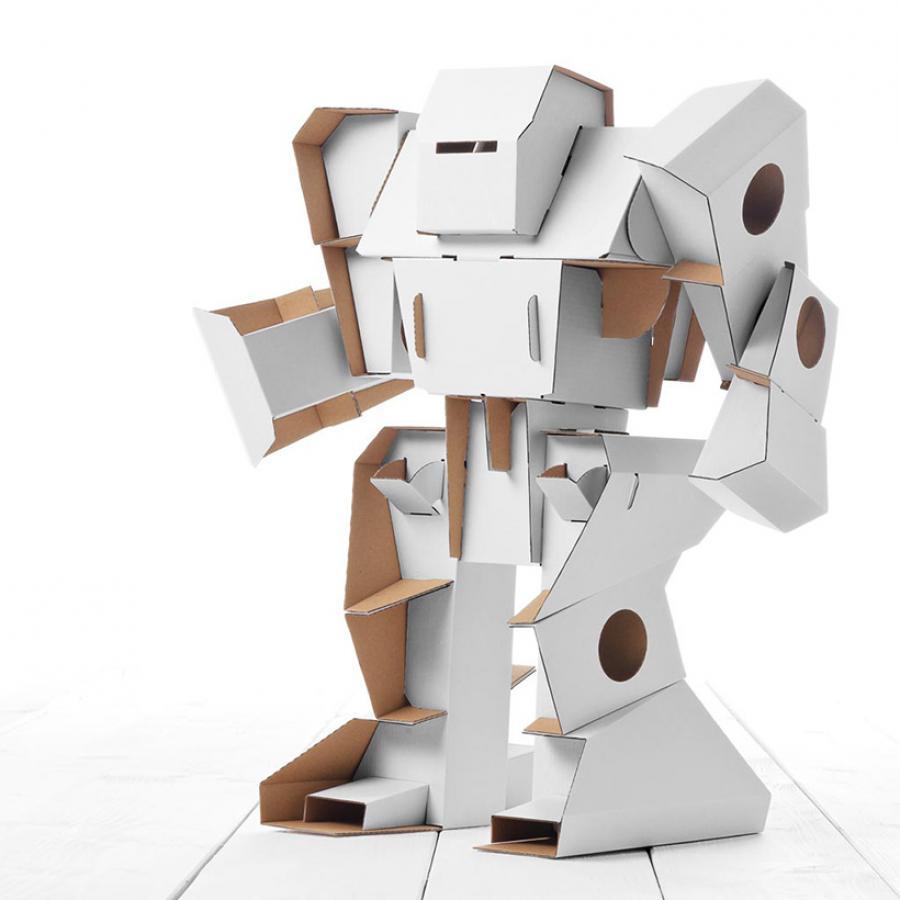 ein roboter aus karton zum ausmalen  calafant